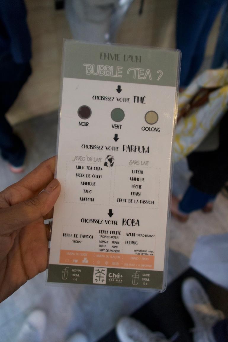 Cha + tea bar boba tea menu